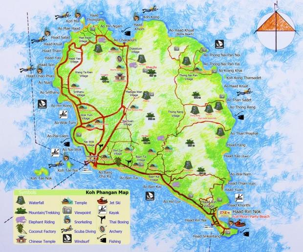 карта достопримечательностей Пангана