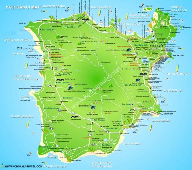 Подробная карта острова Самуи