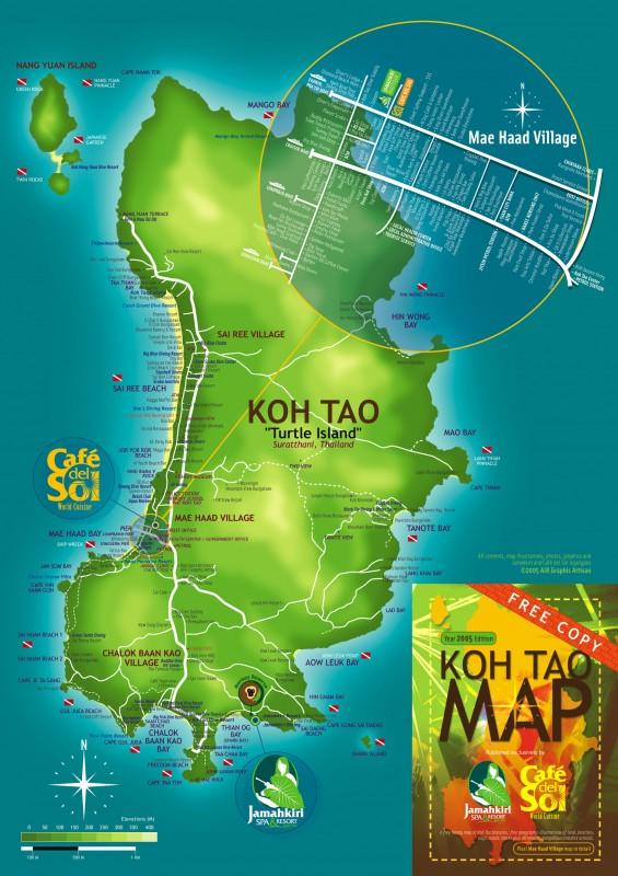 Большая карта Ко Тао с отелями