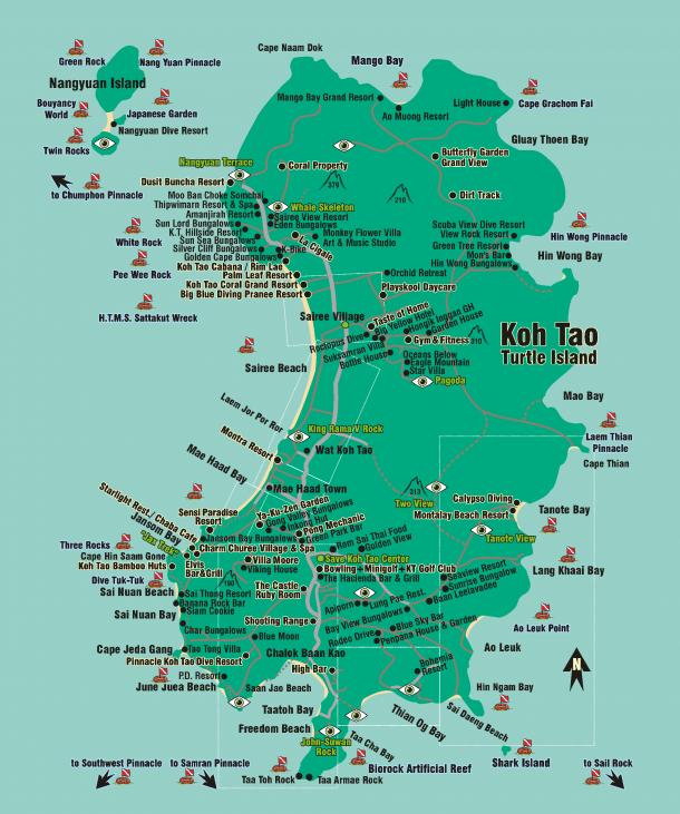 Подробная карта Ко Тао