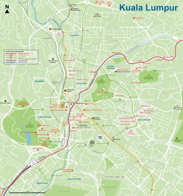 Крупномасштабная карта столицы Малайзии