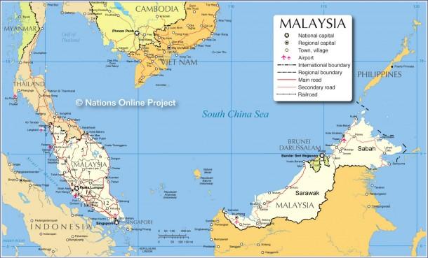 Карта Малайзии на английском языке