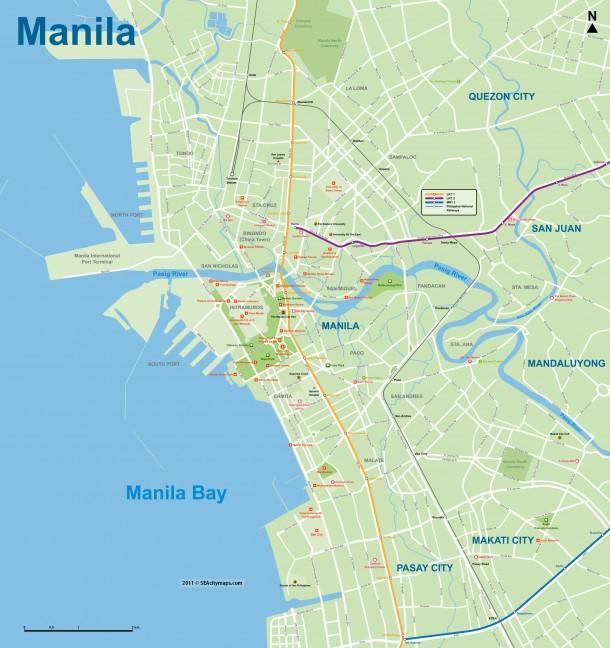 Карта Манилы, Филиппины