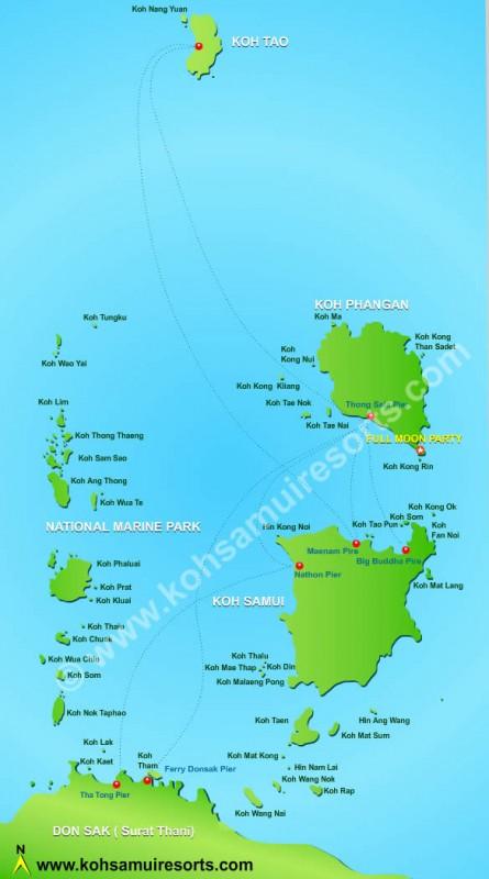 Карта Самуи, Пангана и Ко Тао