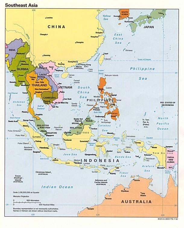 Подробная карта ЮВА