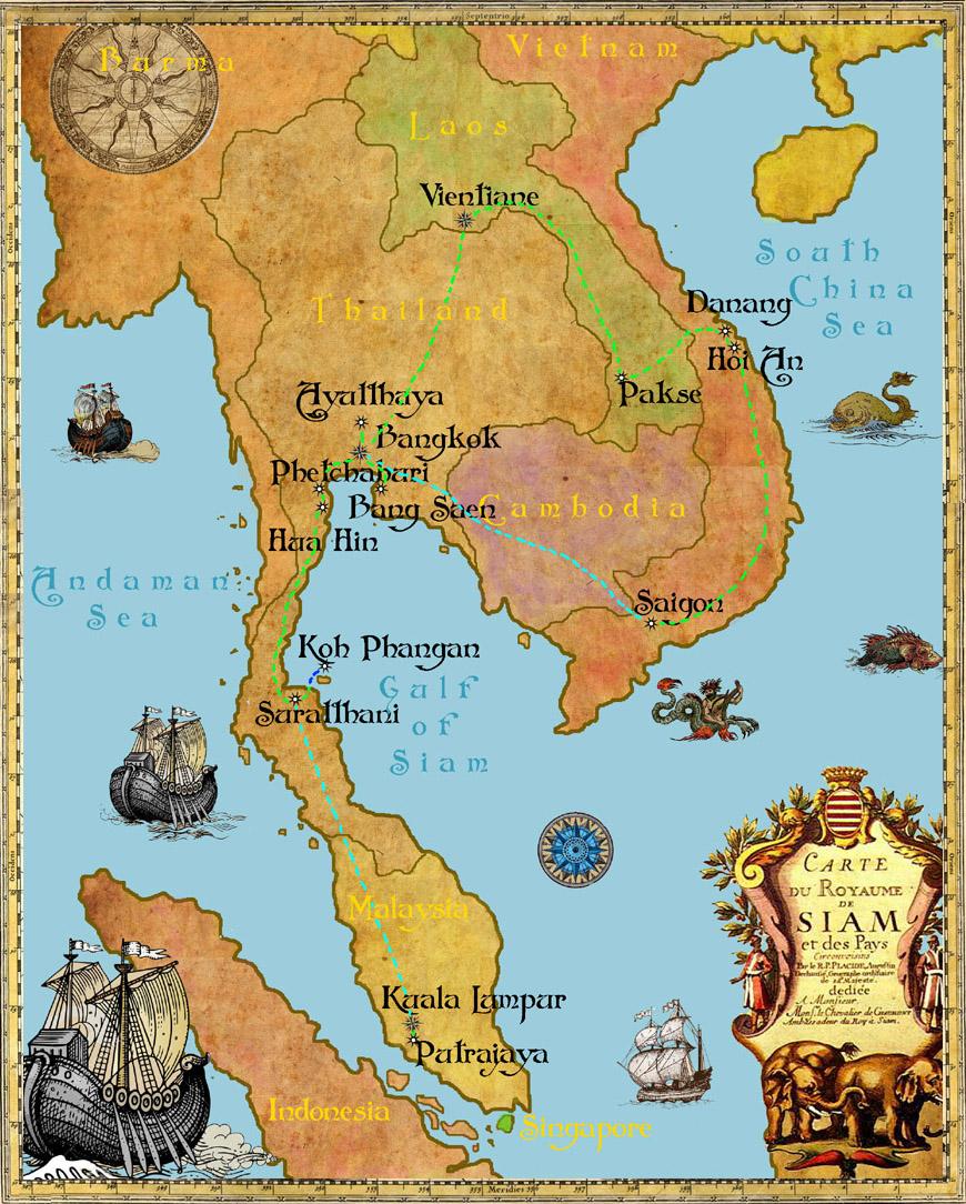 карта путешествия по Юго-Восточной Азии