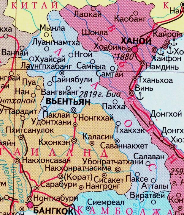 карта Лаоса на русском