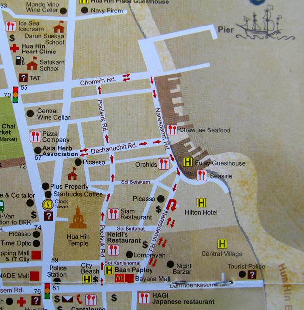 карта центр Хуа Хина