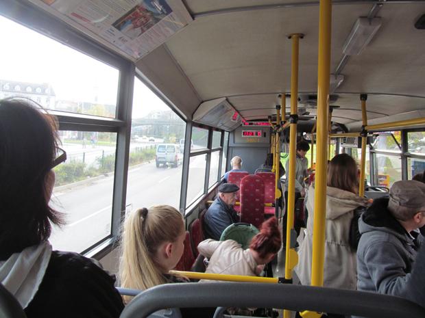 салон автобуса в Братиславе
