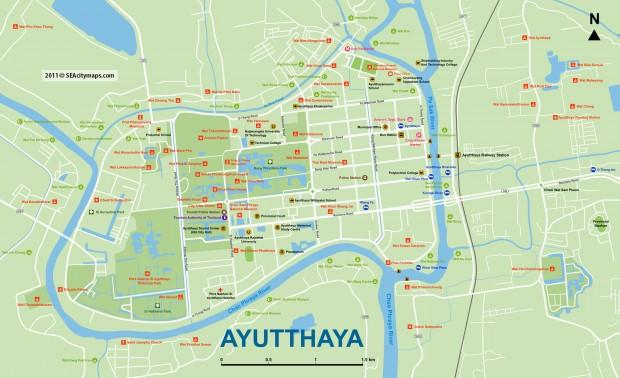 Подробная туристическая карта Аюттайи
