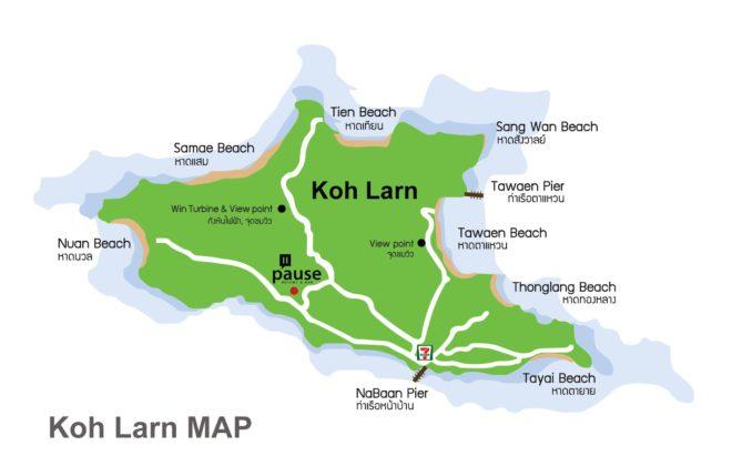 карта Ко Лан с пляжами