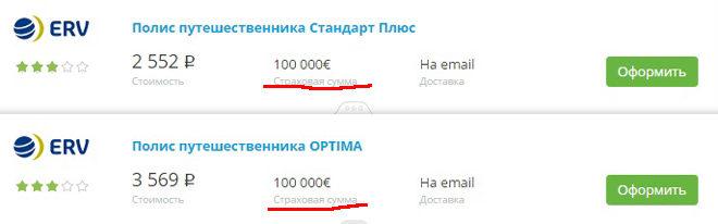 полис с покрытием 100000