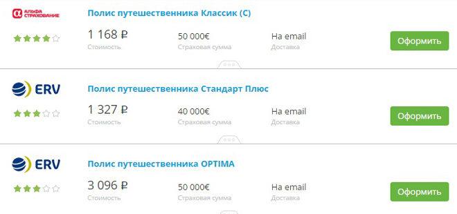 варианты страховок на Сравни.ру