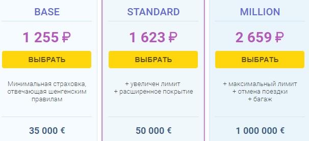 цена полиса Tripinsurance для Шенгена