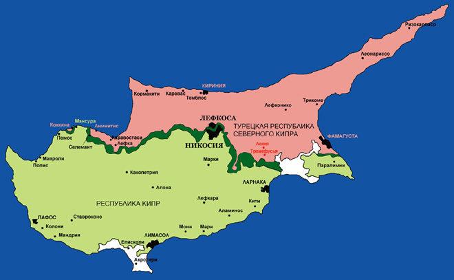Северный Кипр на карте